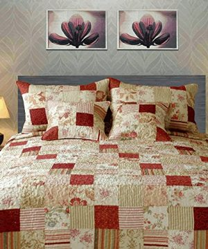 Tache Home Fashion Strawberry Field Coverlet Quilt Set Queen Red Beige Multi 0 300x360