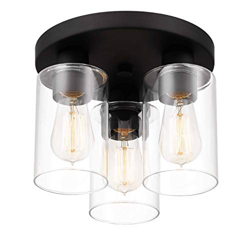 Tawson Debo Modern Farmhouse 3 Light Flush Mount Ceiling Light With Clear Glass Shade For Hallway Entryway Passway Dining Room Bedroom Garage Kitchen Island Balcony Living Room 0 2