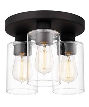 Tawson Debo Modern Farmhouse 3 Light Flush Mount Ceiling Light With Clear Glass Shade For Hallway Entryway Passway Dining Room Bedroom Garage Kitchen Island Balcony Living Room 0 3 300x360