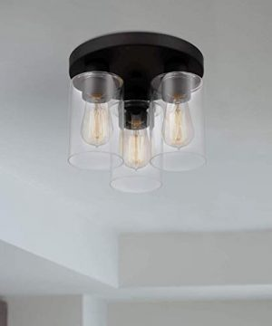 Tawson Debo Modern Farmhouse 3 Light Flush Mount Ceiling Light With Clear Glass Shade For Hallway Entryway Passway Dining Room Bedroom Garage Kitchen Island Balcony Living Room 0 5 300x360