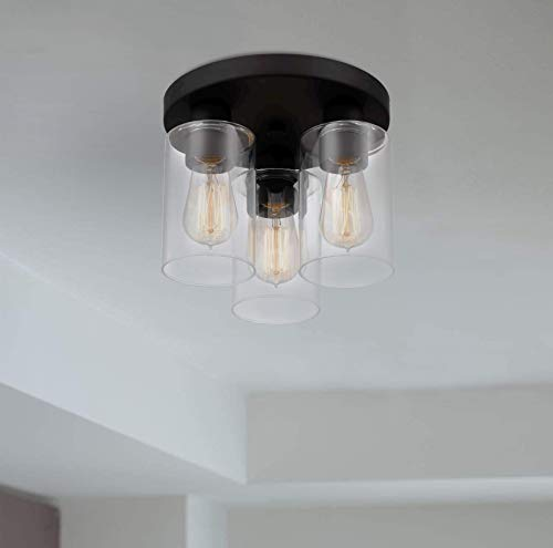 Tawson Debo Modern Farmhouse 3 Light Flush Mount Ceiling Light With Clear Glass Shade For Hallway Entryway Passway Dining Room Bedroom Garage Kitchen Island Balcony Living Room 0 5