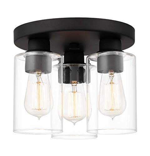 Tawson Debo Modern Farmhouse 3 Light Flush Mount Ceiling Light With Clear Glass Shade For Hallway Entryway Passway Dining Room Bedroom Garage Kitchen Island Balcony Living Room 0