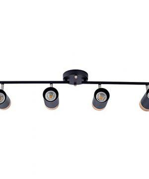 TeHenoo Adjustable Track Lighting Kit 4 Lights Ceiling Light GU10 Bulb With Metal And Wood Shade For Living Room Kitchen Utility Room Black 0 300x360