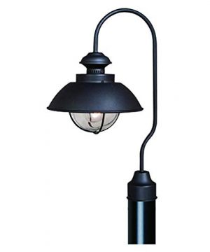 VAXCEL Outdoor Farmhouse Post Light Harwich Textured Black With Clear Seeded Glass Shade Coastal Post Lamp Rustic Gooseneck Barn Fixture For Driveway Backyard Street Lighting Deck Patio 0 300x360