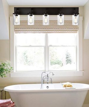VINLUZ Bathroom Lighting Over Mirror 5 Light Metal Base Oil Rubbed Bronze Finish With Clear Cylinder Glass Shade Vanity Light Fixture 0 0 300x360