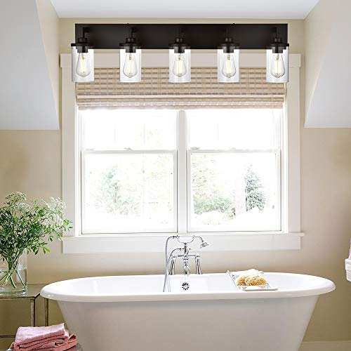 VINLUZ Bathroom Lighting Over Mirror 5 Light Metal Base Oil Rubbed Bronze Finish With Clear Cylinder Glass Shade Vanity Light Fixture 0 0