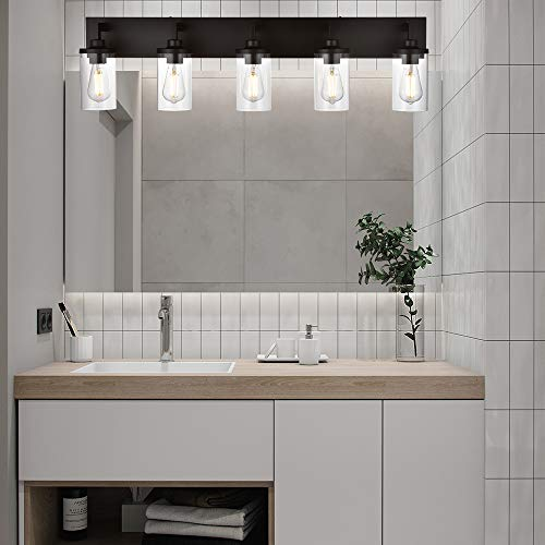 VINLUZ Bathroom Lighting Over Mirror 5 Light Metal Base Oil Rubbed Bronze Finish With Clear Cylinder Glass Shade Vanity Light Fixture 0 1