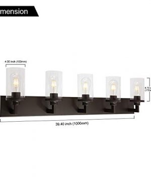 VINLUZ Bathroom Lighting Over Mirror 5 Light Metal Base Oil Rubbed Bronze Finish With Clear Cylinder Glass Shade Vanity Light Fixture 0 2 300x360
