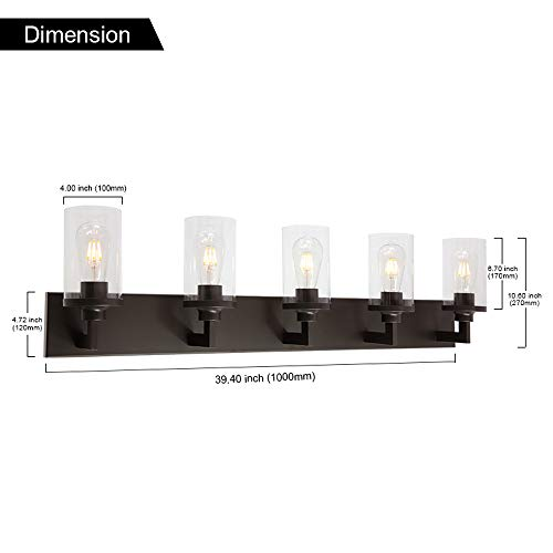 VINLUZ Bathroom Lighting Over Mirror 5 Light Metal Base Oil Rubbed Bronze Finish With Clear Cylinder Glass Shade Vanity Light Fixture 0 2