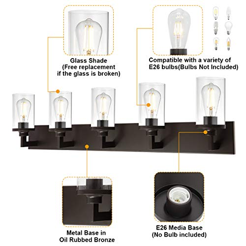 VINLUZ Bathroom Lighting Over Mirror 5 Light Metal Base Oil Rubbed Bronze Finish With Clear Cylinder Glass Shade Vanity Light Fixture 0 3