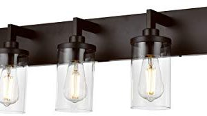 VINLUZ Bathroom Lighting Over Mirror 5 Light Metal Base Oil Rubbed Bronze Finish With Clear Cylinder Glass Shade Vanity Light Fixture 0 300x169
