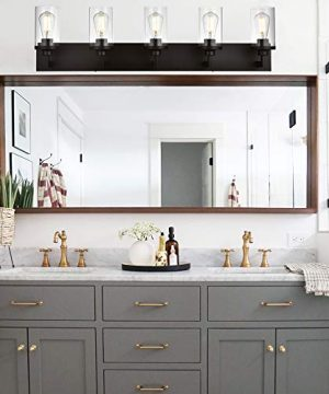 VINLUZ Bathroom Lighting Over Mirror 5 Light Metal Base Oil Rubbed Bronze Finish With Clear Cylinder Glass Shade Vanity Light Fixture 0 4 300x360