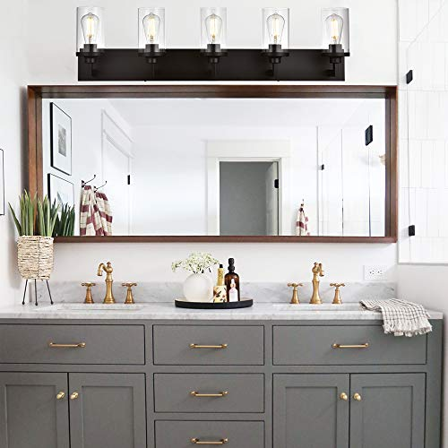 VINLUZ Bathroom Lighting Over Mirror 5 Light Metal Base Oil Rubbed Bronze Finish With Clear Cylinder Glass Shade Vanity Light Fixture 0 4