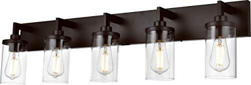 VINLUZ Bathroom Lighting Over Mirror 5 Light Metal Base Oil Rubbed Bronze Finish With Clear Cylinder Glass Shade Vanity Light Fixture 0