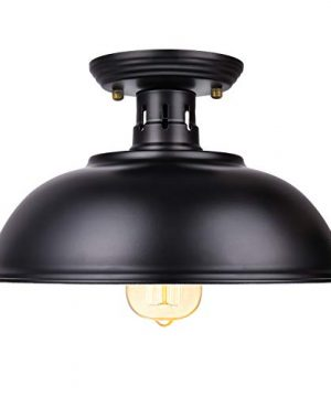 Vintage Rustic Semi Flush Mount Ceiling Light Farmhouse Black Ceiling Light Fixture E26 Base Industrial Ceiling Lights For Hallway Stairway Foyer Kitchen Porch Entryway 0 300x360