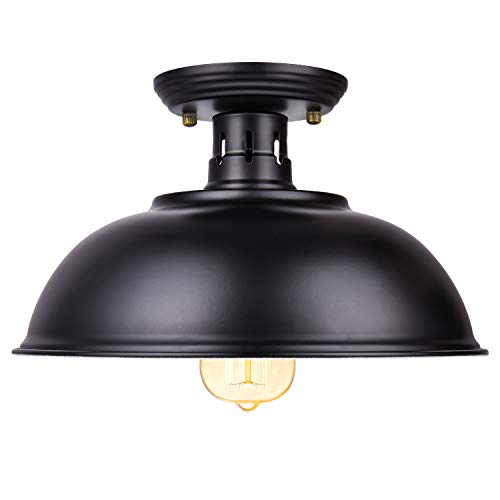 Vintage Rustic Semi Flush Mount Ceiling Light Farmhouse Black Ceiling Light Fixture E26 Base Industrial Ceiling Lights For Hallway Stairway Foyer Kitchen Porch Entryway 0