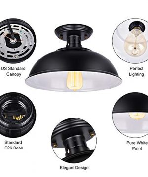 Vintage Rustic Semi Flush Mount Ceiling Light Farmhouse Black Ceiling Light Fixture E26 Base Industrial Ceiling Lights For Hallway Stairway Foyer Kitchen Porch Entryway 2 Pack 0 1 300x360