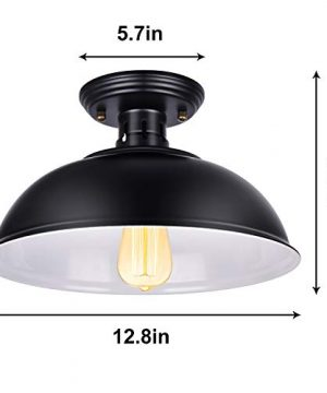 Vintage Rustic Semi Flush Mount Ceiling Light Farmhouse Black Ceiling Light Fixture E26 Base Industrial Ceiling Lights For Hallway Stairway Foyer Kitchen Porch Entryway 2 Pack 0 3 300x360