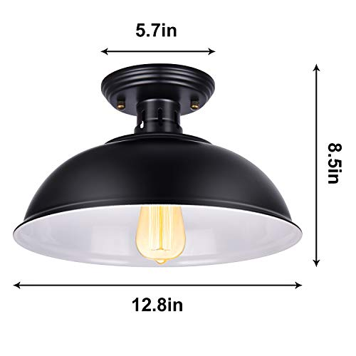 Vintage Rustic Semi Flush Mount Ceiling Light Farmhouse Black Ceiling Light Fixture E26 Base Industrial Ceiling Lights For Hallway Stairway Foyer Kitchen Porch Entryway 2 Pack 0 3