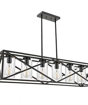 WINSHEN Black 6 Lights Dining Room Lighting Fixtures Hanging With Seeded Glass Lampshades 453 Inches Length Industrial Kitchen Island Pendant Light Chandelier For Pool Table Living Room 0 300x360