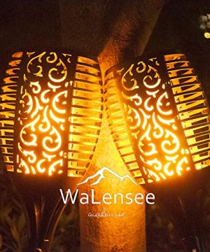Walensee Solar Lights Outdoor Upgraded 436 PACK 96 LED Waterproof Flickering Flames Torch Lights Outdoor Solar Spotlights Landscape Decoration Lighting Dusk To Dawn Auto OnOff Security Torch Light 0 0 300x360