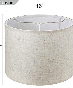 Wellmet 16x16x12 Assembly Required Lampshade For Table Lamp Bedside LampFloor LampFabric Drum Lampshade Classic Modern StyleSpider FitterLinen 0 0 300x360