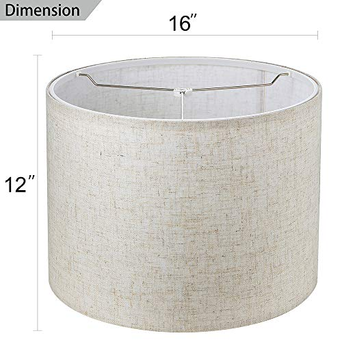 Wellmet 16x16x12 Assembly Required Lampshade For Table Lamp Bedside LampFloor LampFabric Drum Lampshade Classic Modern StyleSpider FitterLinen 0 0
