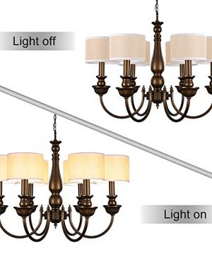 Wellmet Small Chandelier Lamp Shades Brown Set Of 6 Rustic Style Linen Drum Shades For Wall Lamp Hardback Clip On Lamp Shades For E12 Candle Bulbs 55x 55 X 4 0 2 300x360