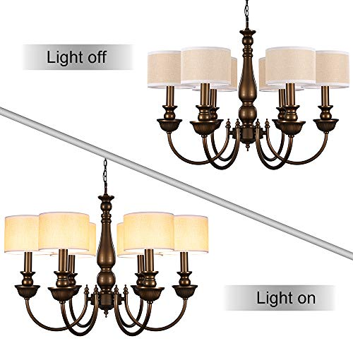 Wellmet Small Chandelier Lamp Shades Brown Set Of 6 Rustic Style Linen Drum Shades For Wall Lamp Hardback Clip On Lamp Shades For E12 Candle Bulbs 55x 55 X 4 0 2