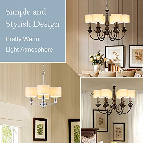 Wellmet Small Chandelier Lamp Shades Brown Set Of 6 Rustic Style Linen Drum Shades For Wall Lamp Hardback Clip On Lamp Shades For E12 Candle Bulbs 55x 55 X 4 0 3