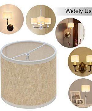 Wellmet Small Chandelier Lamp Shades Brown Set Of 6 Rustic Style Linen Drum Shades For Wall Lamp Hardback Clip On Lamp Shades For E12 Candle Bulbs 55x 55 X 4 0 4 300x360