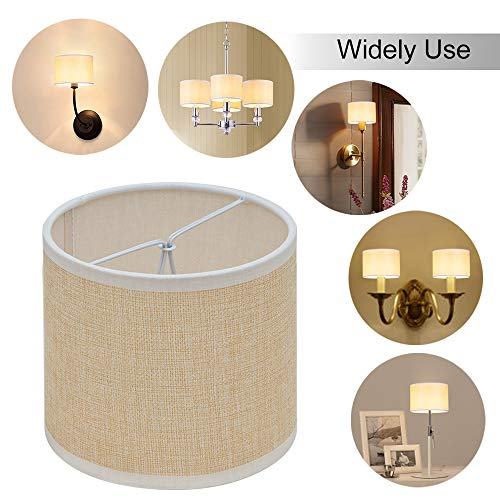 Wellmet Small Chandelier Lamp Shades Brown Set Of 6 Rustic Style Linen Drum Shades For Wall Lamp Hardback Clip On Lamp Shades For E12 Candle Bulbs 55x 55 X 4 0 4