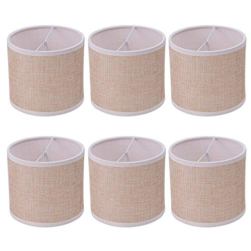 Wellmet Small Chandelier Lamp Shades Brown Set Of 6 Rustic Style Linen Drum Shades For Wall Lamp Hardback Clip On Lamp Shades For E12 Candle Bulbs 55x 55 X 4 0