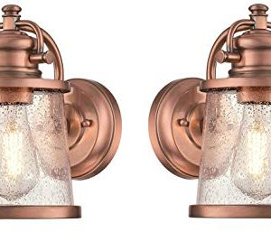 Westinghouse Emma Jane One Light Washed Copper Finish With Clear Seeded Glass Outdoor Wall Fixture Copper 2 Pack 0 300x257
