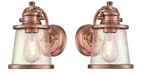 Westinghouse Emma Jane One Light Washed Copper Finish With Clear Seeded Glass Outdoor Wall Fixture Copper 2 Pack 0