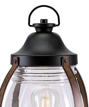 Westinghouse Lighting 6578800 Canyon Rustic One Light Outdoor Post Top Light Fixture Textured Black And Barnwood Finish Clear Glass 0 1 300x360