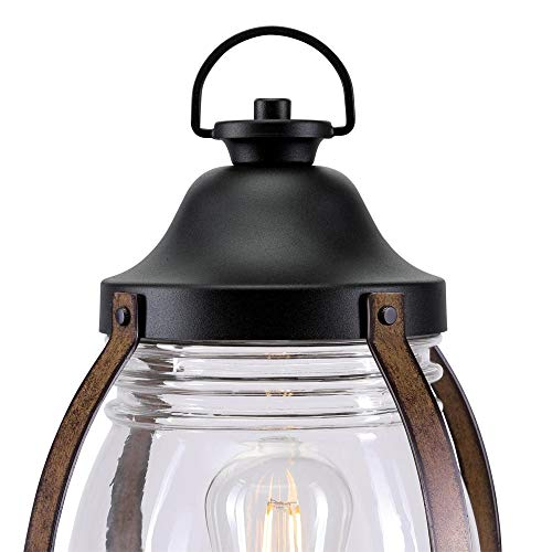 Westinghouse Lighting 6578800 Canyon Rustic One Light Outdoor Post Top Light Fixture Textured Black And Barnwood Finish Clear Glass 0 1