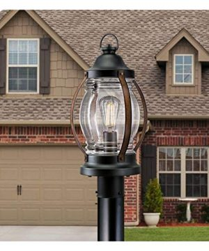 Westinghouse Lighting 6578800 Canyon Rustic One Light Outdoor Post Top Light Fixture Textured Black And Barnwood Finish Clear Glass 0 2 300x360