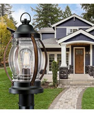 Westinghouse Lighting 6578800 Canyon Rustic One Light Outdoor Post Top Light Fixture Textured Black And Barnwood Finish Clear Glass 0 3 300x360