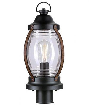 Westinghouse Lighting 6578800 Canyon Rustic One Light Outdoor Post Top Light Fixture Textured Black And Barnwood Finish Clear Glass 0 300x360