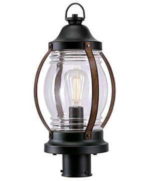 Westinghouse Lighting 6578800 Canyon Rustic One Light Outdoor Post Top Light Fixture Textured Black And Barnwood Finish Clear Glass 0 4 300x360