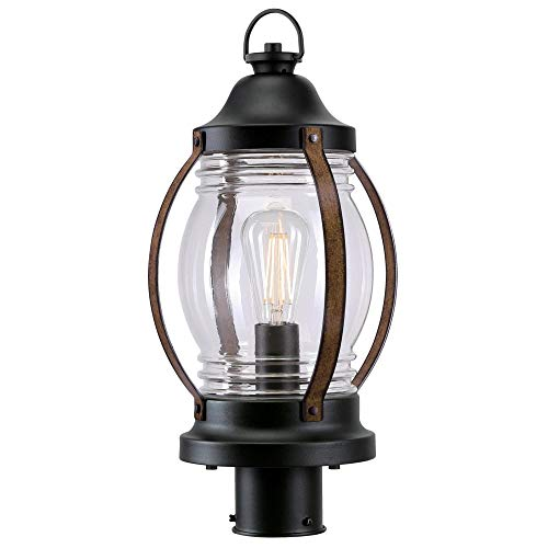 Westinghouse Lighting 6578800 Canyon Rustic One Light Outdoor Post Top Light Fixture Textured Black And Barnwood Finish Clear Glass 0 4