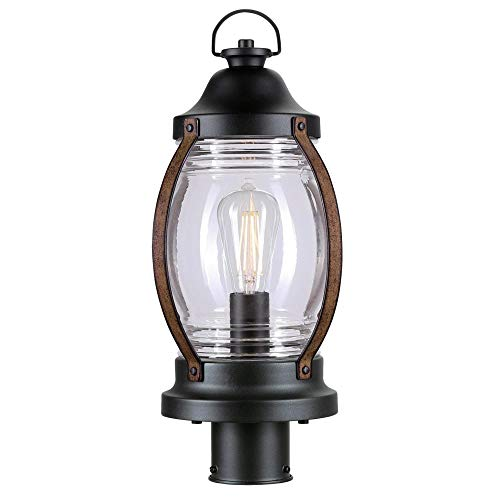 Westinghouse Lighting 6578800 Canyon Rustic One Light Outdoor Post Top Light Fixture Textured Black And Barnwood Finish Clear Glass 0