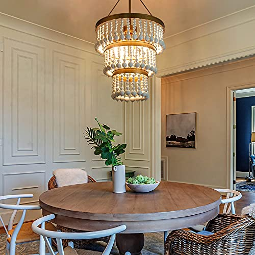 Wooden Bead Chandelier 6 Light Farmhouse Chandelier For Dining Room 16 Boho Light Fixture For Foyer Living Room Antique Gold Finish With 3 Tier Handmade White Wood Beads 0 0