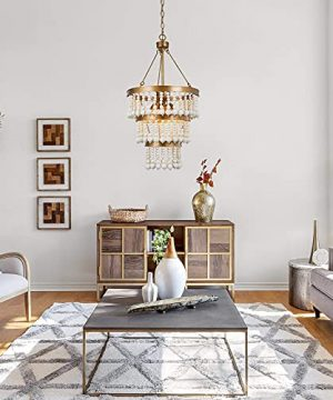 Wooden Bead Chandelier 6 Light Farmhouse Chandelier For Dining Room 16 Boho Light Fixture For Foyer Living Room Antique Gold Finish With 3 Tier Handmade White Wood Beads 0 2 300x360