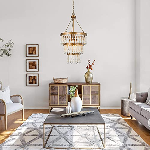 Wooden Bead Chandelier 6 Light Farmhouse Chandelier For Dining Room 16 Boho Light Fixture For Foyer Living Room Antique Gold Finish With 3 Tier Handmade White Wood Beads 0 2