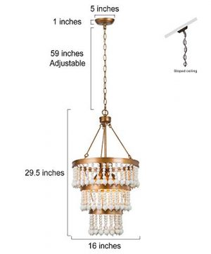 Wooden Bead Chandelier 6 Light Farmhouse Chandelier For Dining Room 16 Boho Light Fixture For Foyer Living Room Antique Gold Finish With 3 Tier Handmade White Wood Beads 0 3 300x360