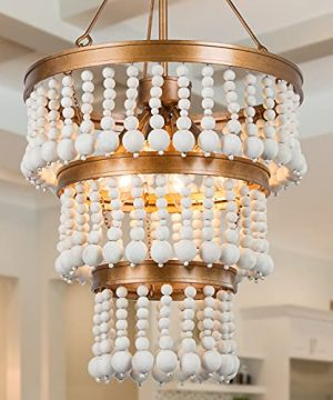 Wooden Bead Chandelier 6 Light Farmhouse Chandelier For Dining Room 16 Boho Light Fixture For Foyer Living Room Antique Gold Finish With 3 Tier Handmade White Wood Beads 0 300x360