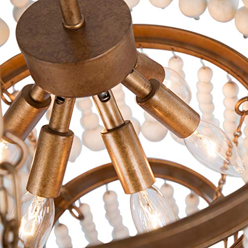 Wooden Bead Chandelier 6 Light Farmhouse Chandelier For Dining Room 16 Boho Light Fixture For Foyer Living Room Antique Gold Finish With 3 Tier Handmade White Wood Beads 0 4