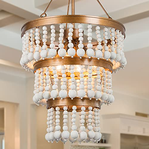 Wooden Bead Chandelier 6 Light Farmhouse Chandelier For Dining Room 16 Boho Light Fixture For Foyer Living Room Antique Gold Finish With 3 Tier Handmade White Wood Beads 0